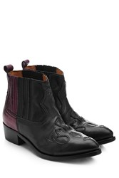 Golden Goose Two Tone Leather Cowboy Boots Black