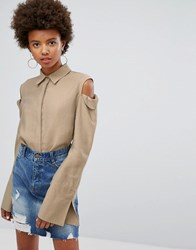 Evidnt Cold Shoulder Shirt Taupe Beige
