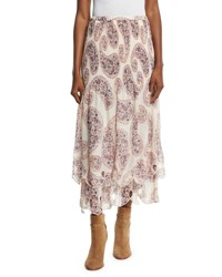 See By Chloe Tiered Paisley Chiffon Midi Skirt Winter White