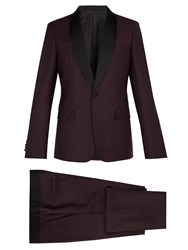 Prada Contrast Panel Single Breasted Mohair Blend Suit Burgundy