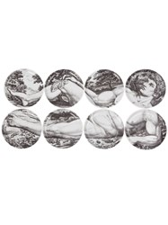 Fornasetti Set Of Eight Coasters Grey