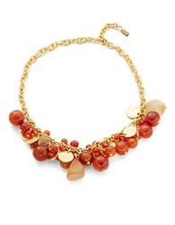 Kenneth Jay Lane Shaky Carnelian And Disc Necklace Gold