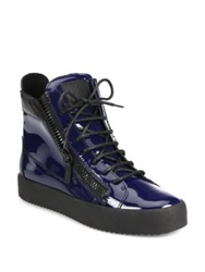 Giuseppe Zanotti Patent Double Zip High Top Sneakers Dark Blue
