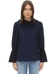 Tory Burch Ruffled Collar Chiffon Blouse Navy