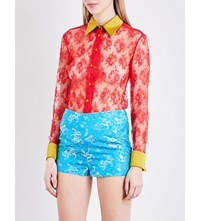 Eric Schlosberg Sheer Floral Lace Silk Trim Shirt Red