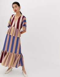 Lost Ink Maxi Smock Dress In Multi Stripe Multi