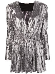Amen Sequined Mini Dress Silver