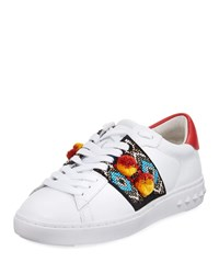 Ash Embroidered Leather Platform Sneaker White Red