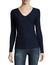 Neiman Marcus Ribbed Long Sleeve V Neck Pullover Sweater Navy
