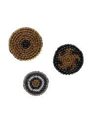 Luisa Cerano Three Pack Embellished Brooches Black