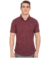 7 Diamonds Boomerang Top Maroon Men's Short Sleeve Button Up Red