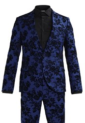 Noose And Monkey Wolfe Floral Suit Blue