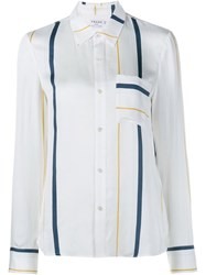 Frame Denim Silk Blend Stripe Long Sleeve Shirt White