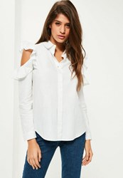 Missguided Petite White Frill Cold Shoulder Shirt