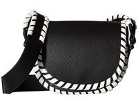 French Connection Claudia Small Saddle Bag Black White Handbags