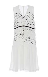 Carven Georgette Printed Sleeveless Dress White