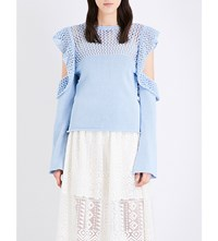 Philosophy Di Lorenzo Serafini Cold Shoulder Open Knit Jumper Blue