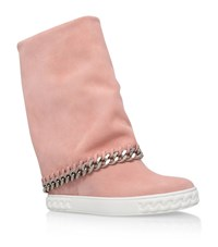 Casadei Chaucer Chain Trim Suede Wedge Boots Female Pink