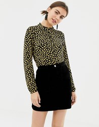 Soaked In Luxury Floral High Neck Top Misted Yellow Multi