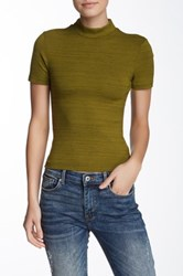 American Apparel Short Sleeve Mock Neck Shirt Green