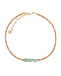 Nakamol Triple Amazonite And Braided Leather Choker Necklace Blue