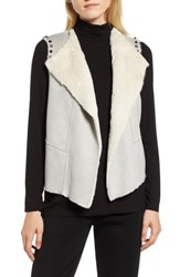 Ming Wang Embellished Faux Shearling Vest Stone Cliff