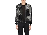 Saint Laurent Men's Embellished Silk Crepe Bomber Jacket Black