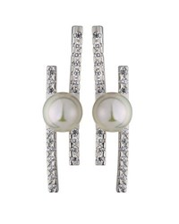 Majorica Kate Pave Cz Bar And Pearl Stud Earrings White