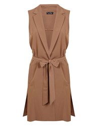 Miss Selfridge Trenchcoat Inspired Vest Taupe Beige