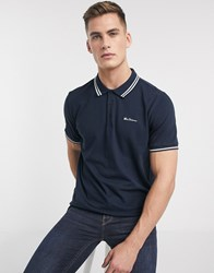 Ben Sherman Twin Tipped Pique Polo Shirt Navy
