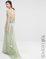 Tfnc Tall Wedding Sateen Bow Back Maxi Dress Laurel Green