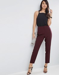 Asos Clean High Waisted Slim Trousers Berry Green