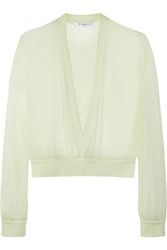 Givenchy V Neck Sweater In Mint Silk Chiffon