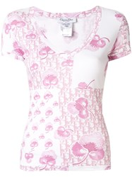 Christian Dior Pre Owned Logo And Floral Print Top 60