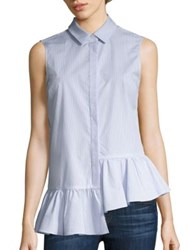 Prose And Poetry Megan Asymmetrical Ruffled Slim Fit Shirt Pencil Stripe Cloud Blue
