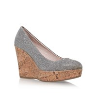 Carvela Attend High Wedge Heel Court Shoes Silver