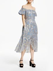And Or Jacquard Off Shoulder Midi Dress Blue Multi