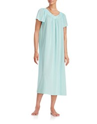 Miss Elaine Plus Embroidered Floral Nightgown Seafoam