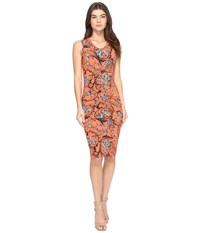 Nicole Miller Floral Nouveau Jersey Dress Hot Coral Women's Dress Red