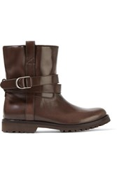 Brunello Cucinelli Glossed Leather Ankle Boots Dark Brown