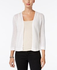 Charter Club Open Front Pointelle Cardigan Only At Macy's Bright White