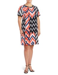Jones New York Plus Relaxed Ikat Print Dress Coral Comb