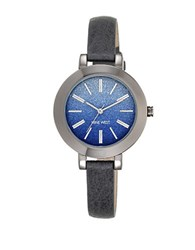 Nine West Ombre Glitter Dial Grey Leather Strap Watch Blue