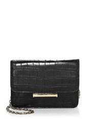 Jason Wu Diane Croc Embossed Leather Clutch Black