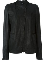 Ann Demeulemeester Three Button Leather Jacket Black
