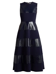 Roksanda Ilincic Wren Sleeveless Striped Cady Midi Dress Navy