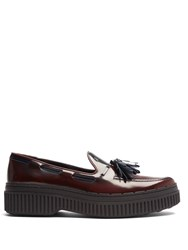Tod's Spazzolato Leather Loafers Burgundy Navy