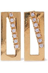 Astrid And Miyu Gold Plated Crystal Earrings Gold