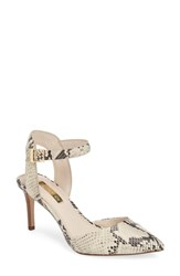 Louise Et Cie Kota Ankle Strap Pump Natural Snake Print Leather