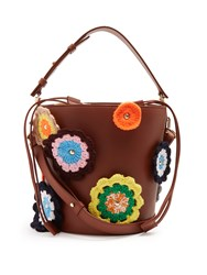 J.W.Anderson Bucket Crochet Applique Leather And Canvas Tote Tan Multi